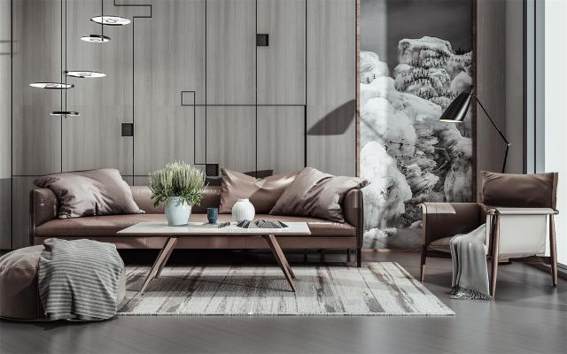 现代风格三人沙发 单人椅 背景墙