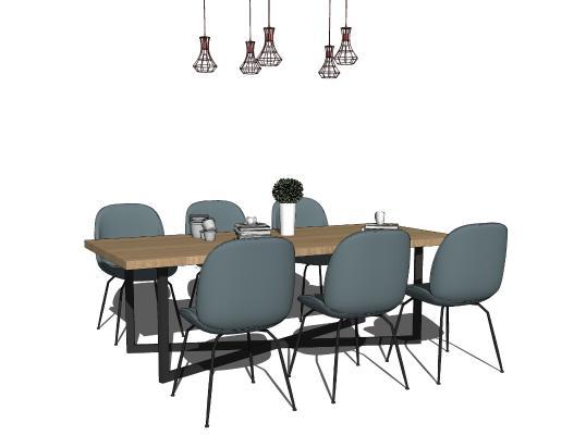 现代休闲桌椅组合 吊灯