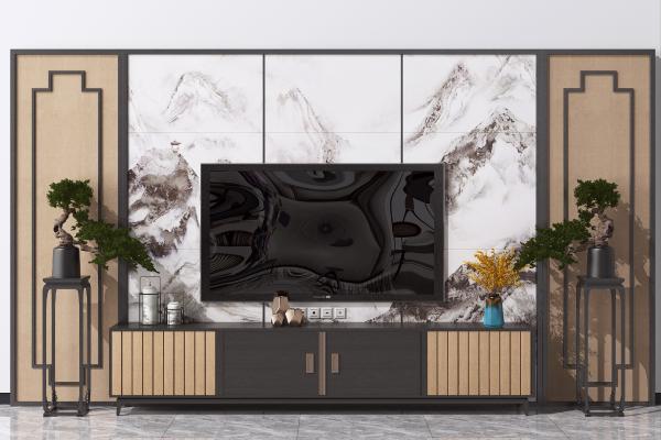 新中式电视背景墙 造型墙 电视柜