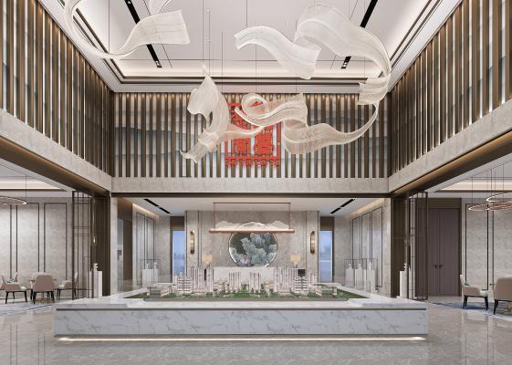 新中式售樓處 吊灯 接待区