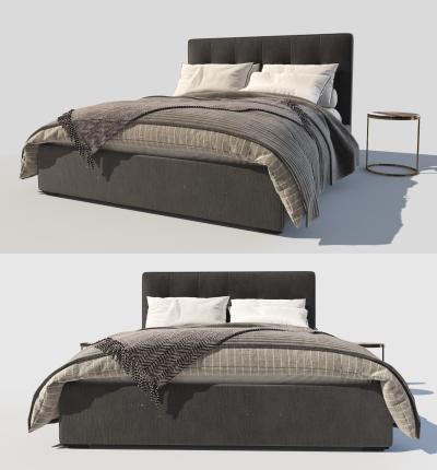 现代布艺双人床