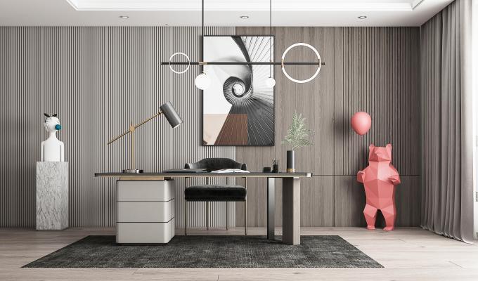 现代书房 书桌椅 吊灯
