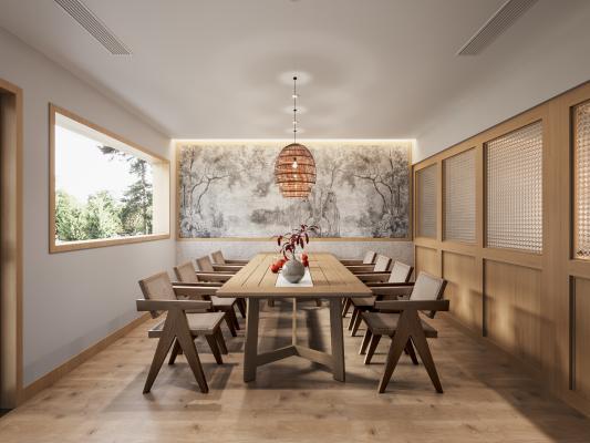 現代餐廳包間 實木餐桌椅 餐廳吊燈