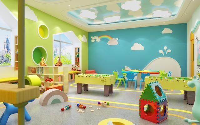现代幼儿园活动室 吊灯 挂画