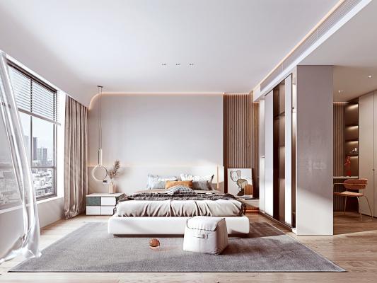 现代简约卧室 现代双人床 皮凳