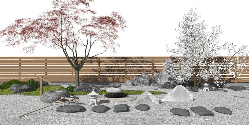 日式风格庭院景观 枯山水景观小品 禅意庭院