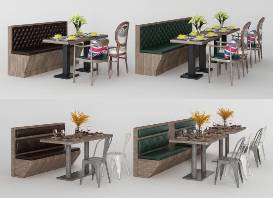 工业风卡座 餐桌椅组合