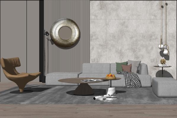 现代客厅 沙发茶几组合 花瓶