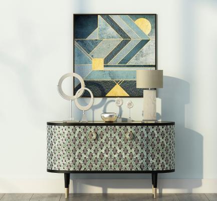 新古典边柜 装饰品 挂画