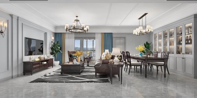 美式客厅餐厅 皮革沙发组合 餐桌组合