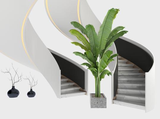 现代旋转楼梯扶手 大理石旋转楼梯 绿植盆栽
