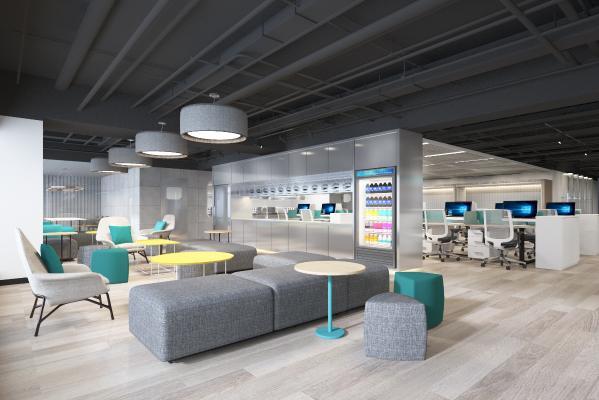 现代办公室 办公区 办公桌椅