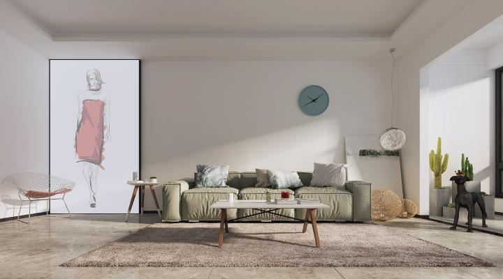 现代客厅布艺多人沙发 单椅组合 装饰画地毯
