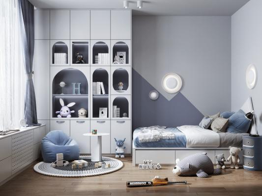 现代风格儿童房 装饰书柜 儿童床