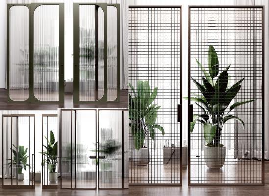 现代玻璃移门 隔断组合
