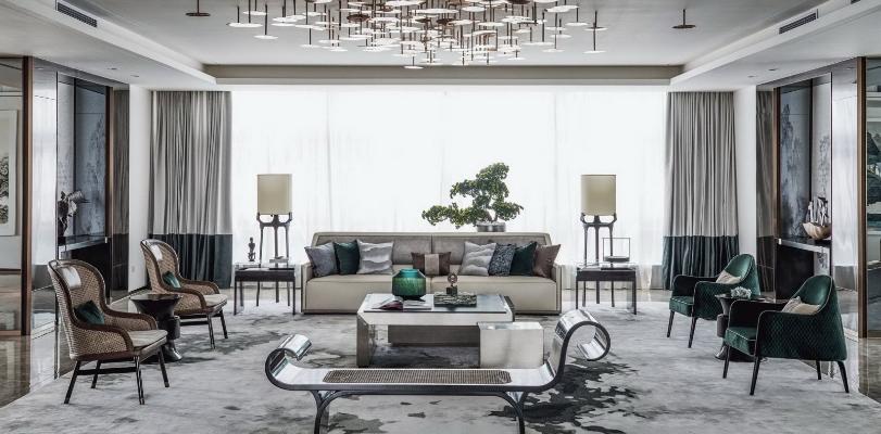 新中式休闲区 洽谈室 休闲椅 洽谈区