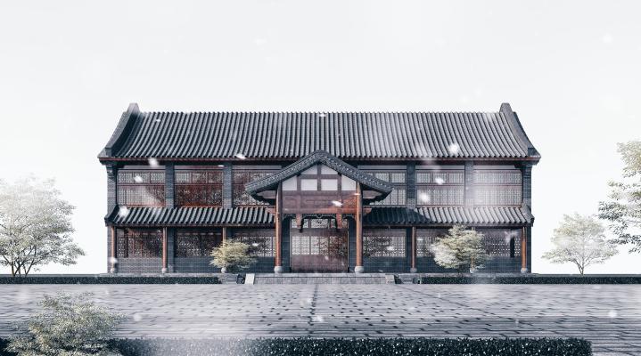 中式酒店 古建筑商业楼 青瓦青砖 白墙双坡顶