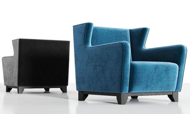 现代实木绒布单人沙发组合