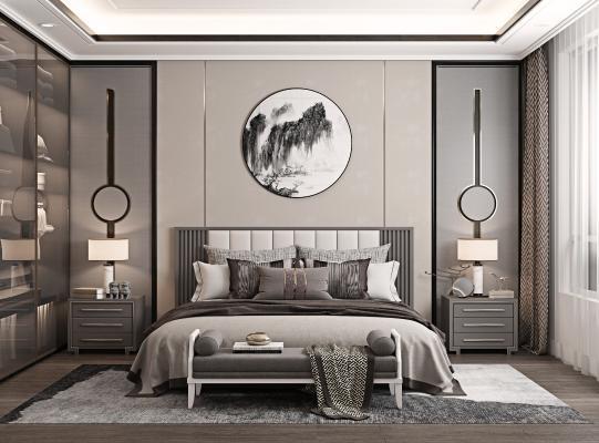 新中式卧室 床头背景 床头凳