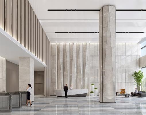 現代辦公前臺 大廳 電梯間