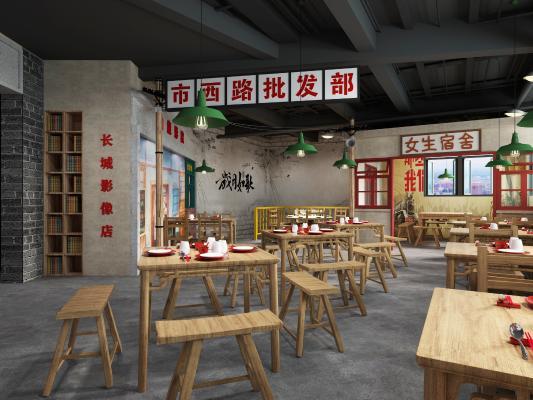 工业LOFT餐厅 吊灯 书柜