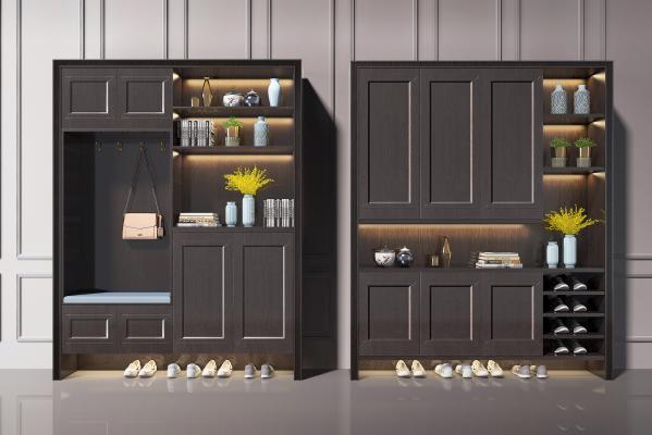 现代多功能实木鞋柜
