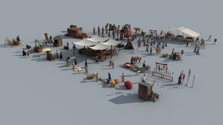 中式古代人物车马集集市