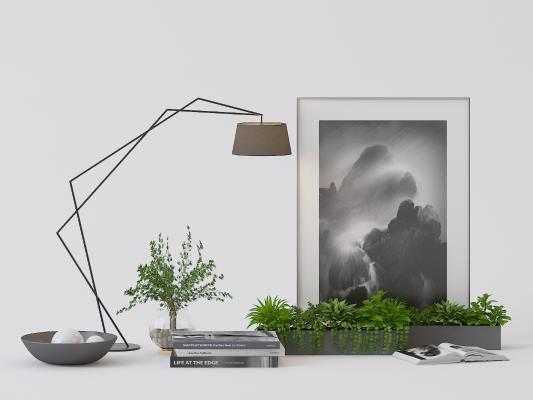 现代台灯 挂画 盆栽