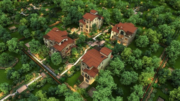 现代别墅外观 景观