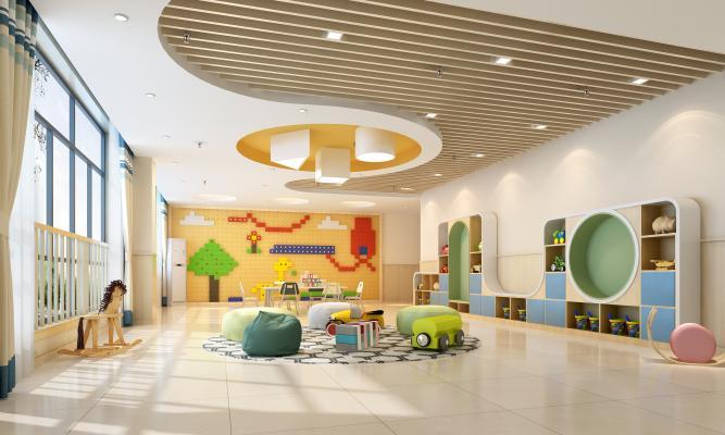 现代幼儿园建构教室 造型书柜 几何灯