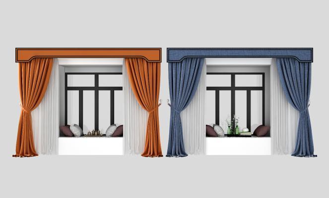 现代飘窗 窗帘组合