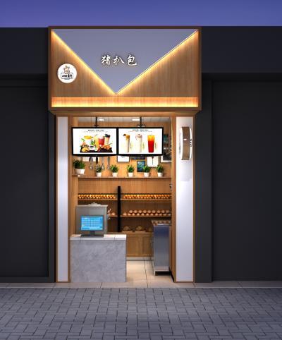 现代甜品店 面包店门头