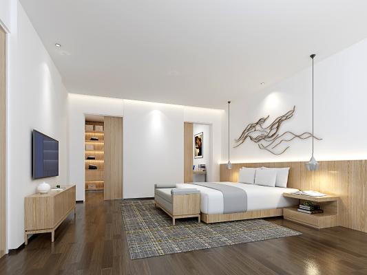 现代极简风格客房 卧室