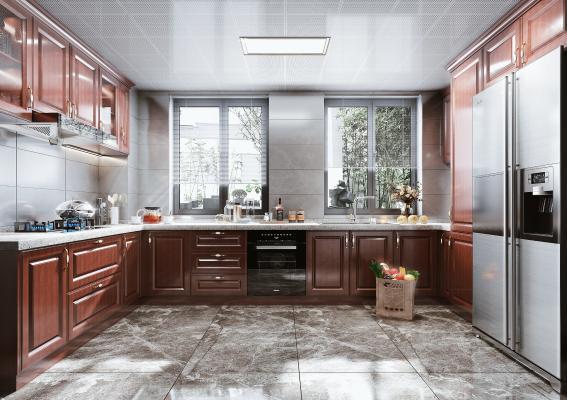 美式風格廚房 櫥柜 油煙機 灶具