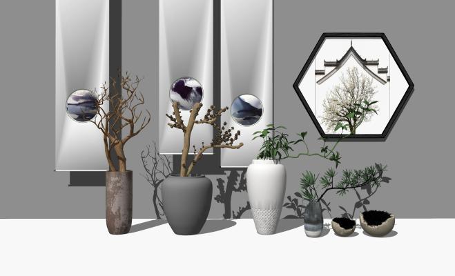 中式盆栽 花瓶 景墙