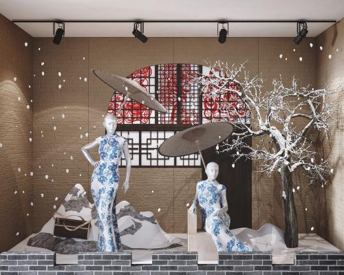 中式旗袍模特橱窗组合