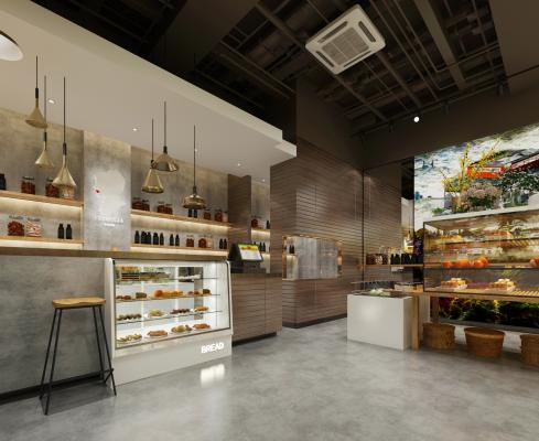 现代面包店 吊灯 收银台
