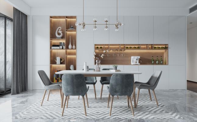 北欧餐厅 餐桌椅组合 餐边柜