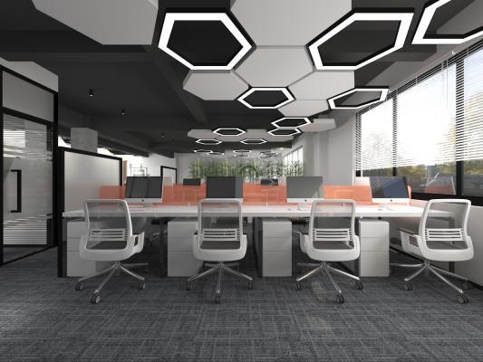 现代敞开式办公室 吊灯 书柜