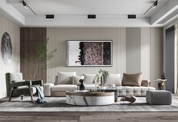 现代客厅 沙发 抱枕