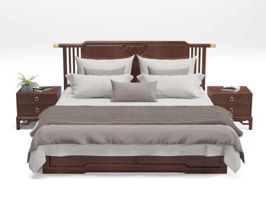 新中式双人床 床头柜