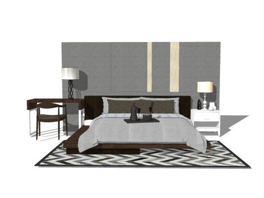 现代卧室床具组合 双人床 床头背景