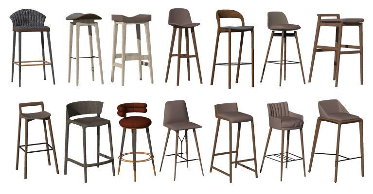 现代吧台椅组合 实木吧椅 高脚凳