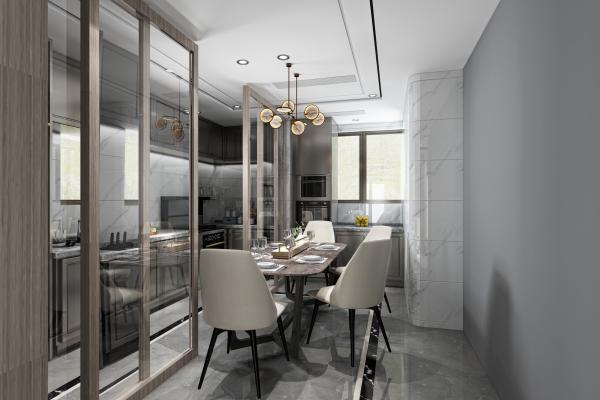 新中式厨房 吊灯 灰色地砖