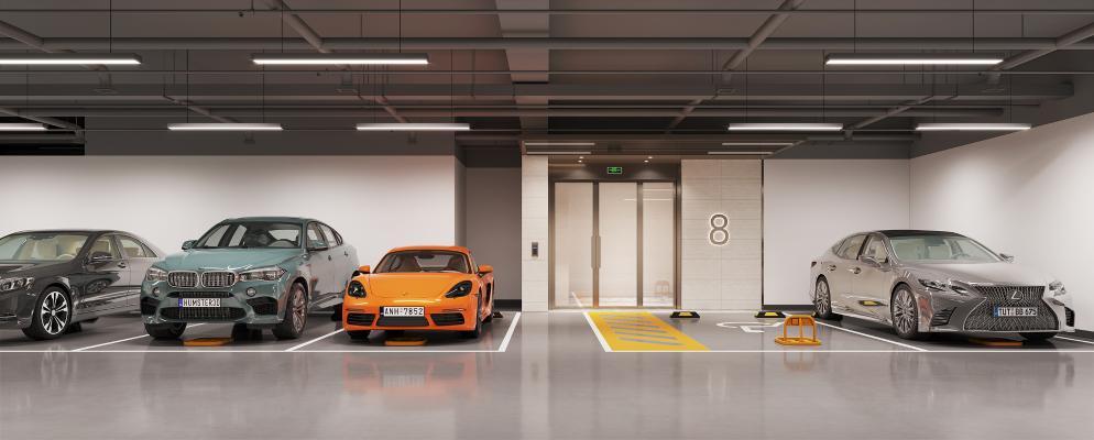 现代停车场 地下车库 汽车