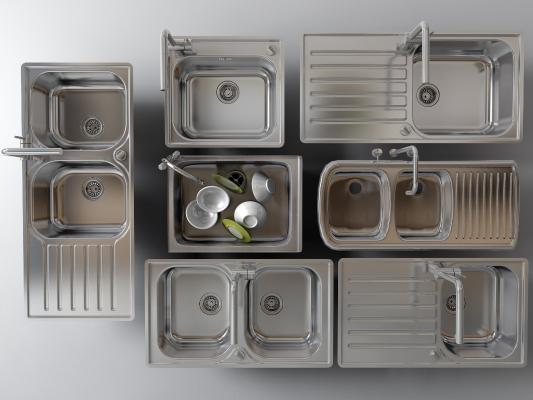 现代水龙头 洗菜盆 水槽