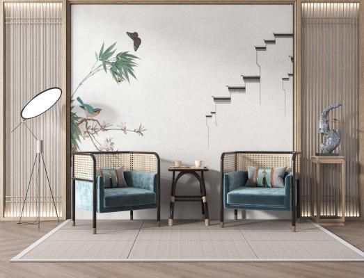 新中式單人沙發