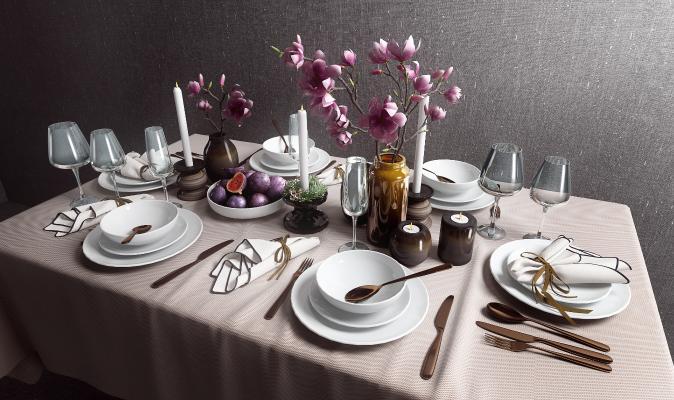 现代餐桌饰品组合