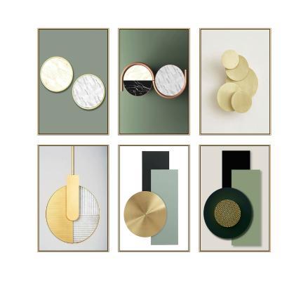 现代轻奢创意几何装饰挂画 抽象画 几何画
