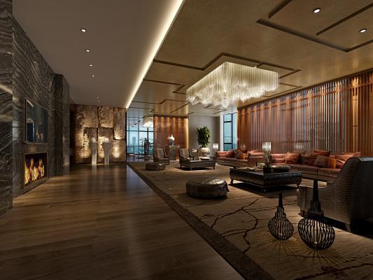 新中式酒店大堂 会客厅